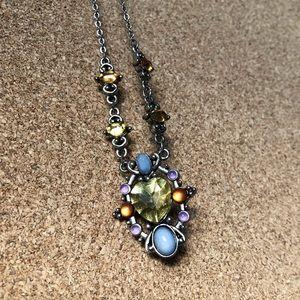 Jewelry - 🌈Rhinestone multicolor necklace on a silver chain